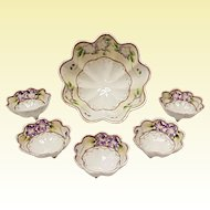 Hand Painted Nippon Nut Set - Violets Moriage