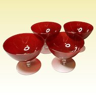 Vintage Beautiful Hand Blown Ruby Red Sherbets Set of 4~8 Oz Dessert~Fruit Dish