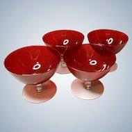 Vintage Beautiful Hand Blown Ruby Red Sherbets Set of 4~8 Oz Dessert~Fruit Dish