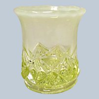 Ca. 1901 Northwood Canary Opalescent Toothpick Holder - Diamond Spearhead