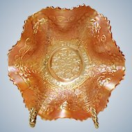 "Early Fenton Carnival Leaf Chain - Marigold 7"" Ruffled Bowl Ca. 1921"