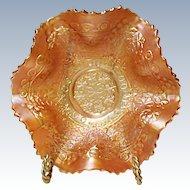 """Early Fenton Carnival Leaf Chain - Marigold 7"""" Ruffled Bowl Ca. 1921"""