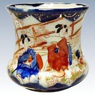 Vintage Geisha Ware Porcelain Toothpick Holder With Cobalt Blue Trim