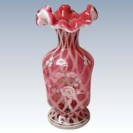 "Fenton 95th Anniversary - Year 2000 - Cranberry Opalescent Diamond Optic Footed 7"" Pinch Vase - QVC"