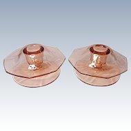 SALE - Depression Era - Fostoria Fairfax Footed Mushroom Candle Holders (pair) #2375-1/2 Rose Pink