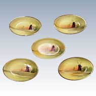 Nippon Morimura - Five Open Salts - Windmill - Trees - Hand Painted