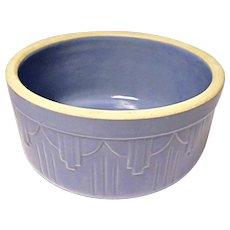 1920's - 1930's Blue Stoneware Crock Bowl - Art Deco - Drape