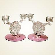 SALE - Vintage Cranberry Tiffin Dubonnet aka King's Crown 2-lite Candle Holders - Pair