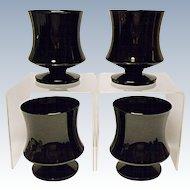 Seneca Fashionables Pattern Black Low Water Goblets 1970's