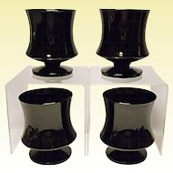 Seneca Fashionables Pattern Black Low Water Goblets 1970's