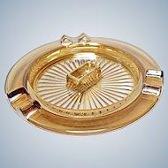 1930's Jeannette Glass Iridescent Carnival Marigold Ashtray - Match Holder - Cigarette Snuffer