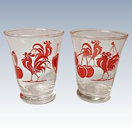 1950's Two Cherry and Chanticleer Red Rooster Decorated Cocktail Tumblers