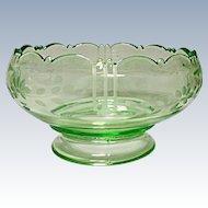 "Vintage L. E. Smith Glass - Depression Era - Green 7"" Art Deco Large Footed Rose Bowl"