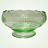 "Vintage L. E. Smith Glass - Depression Era - Green 7"" Art Deco Large Footed Rose Bowl"