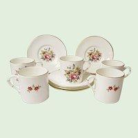 Vintage Royal Worcester - Five Demitasse Sets - Bone China - Floral Bouquet Pattern RW211 - Bournemouth