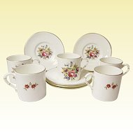 Vintage Royal Worcester - Five Demitasse Sets - Bone China - Floral Bouquet Pattern RW211 - Bournemouth