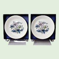 Pair Vintage Royal Worcester Bone China Woodland Coasters #Z2710 Pattern