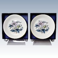 Pair Vintage Royal Worcester Bone China Woodland Coasters #Z2710 Pattern