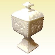"Vintage Westmoreland 7"" - Line #1884 - Beaded Grape BG-34   - Milk Glass - Footed Candy Bowl w/Lid"