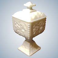 """Vintage Westmoreland 7"""" - Line #1884 - Beaded Grape BG-34   - Milk Glass - Footed Candy Bowl w/Lid"""
