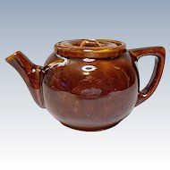 Vintage - Little Brown Glazed Yellow Ware Pot Bellied Teapot - Tea For One