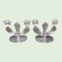 Vintage Pair Tiffin / U.S. Glass Elegant Crystal Two Light Candle Holders - Floral Motif