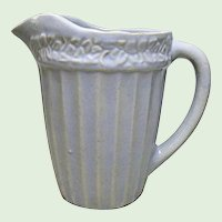 Vintage Light Country Blue Stoneware Pottery Milk Pitcher - Jug - Ribbed With Flower Ring Band