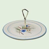 Vintage Stangl Hand Painted Blue Daisy Center Handled Server