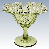Vintage Fenton Colonial Green #9129 CG Footed Comport - Pineapple Pattern
