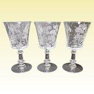 Fostoria - Depression Era - Three Elegant Willow 9 Ounce Water Goblets 1939-1944