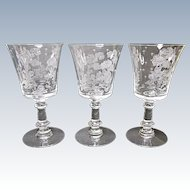 Fostoria - Depression Era - Three Elegant Willow 9 Ounce Water Goblets 1939-1944