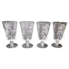 Fostoria - Depression Era - Four Elegant Willow 12 Ounce Iced Tea Footed Tumblers 1939-1944