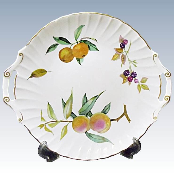 Royal Worcester - Evesham Gold - Fine Bone China Handled Cake Plate & Royal Worcester - Evesham Gold - Fine Bone China Handled Cake Plate ...