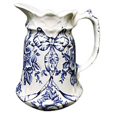 Vintage James Kent Ltd. Garland Blue Ironstone Transferware Creamer - Garland Roses & Bows - Fenton England