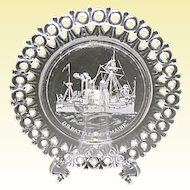1890's U.S. Battleship Maine Commemorative Egg and Dart Pressed Glass Plate