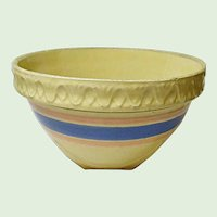 "Vintage McCoy Yellow Ware Pottery 9"" Shoulder Bowl Pink and Blue Banded 1920's and 1930's"