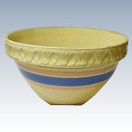 """Vintage McCoy Yellow Ware Pottery 9"""" Shoulder Bowl Pink and Blue Banded 1920's and 1930's"""