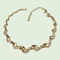 Swarovski Crystal Necklace  - Adjustable - Gold Tone - Signed - Swan Logo
