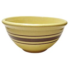 "Very Vintage - Weller - Butterscotch - Brown Banded Yellow Ware 9"" Mixing Bowl - 1910"