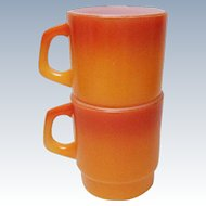 Vintage Two Anchor Hocking Fire King Flame Orange Ombre Stackable Mugs