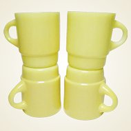 Vintage Four Anchor Hocking Fire King Sunshine Yellow Stackable Mugs