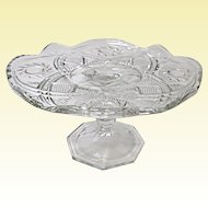 Vintage Small Pressed Glass Cake Stand Tazza