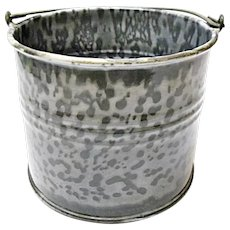 (Hold for Steve P.)   Very Vintage Gray Graniteware Child Size Berry Bucket - Agate Ware