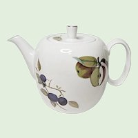 "Royal Worcester - Evesham Gold - Fine Porcelain Teapot - 5"" - 4 Cup - Made In England"