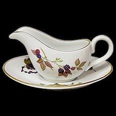 Royal Worcester - Evesham Gold - Fine Porcelain Individual Gravy Boat And Under Plate