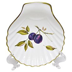 Royal Worcester - Evesham Gold - Fine Porcelain - Small Shell Serving Plate - Tidbit Dish - Tray - Plums