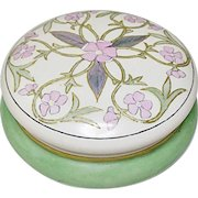 T&V Tressemane and Vogt Limoges Stylized Pink and Green Wild Roses Vanity Box