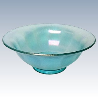 Very Vintage Imperial Stretch Glass -13 Wide Optic Panel Bowl - Green Ice