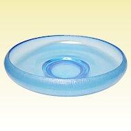 "Very Vintage Fenton Celeste Blue Iridescent Stretch Glass 10"" Shallow Cupped Bowl"