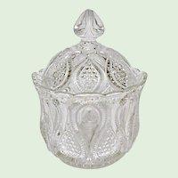 EAPG - Ca. 1900 - 1908 - U.S. Glass New Jersey No. 15070 aka Loops and Drops - Covered Sugar